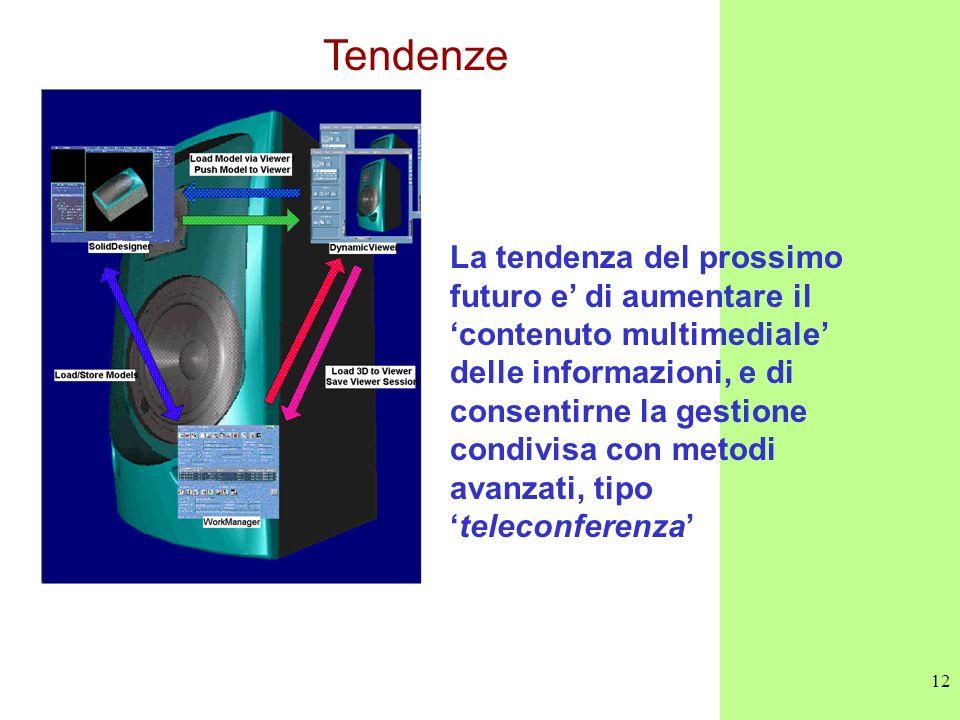 12 Tendenze La tendenza del prossimo futuro e di aumentare il contenuto multimediale delle informazioni, e di consentirne la gestione condivisa con me