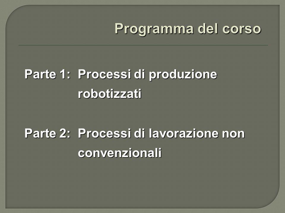 Parte 1: Processi di produzione robotizzati Strutture cinematiche dei robot industriali.