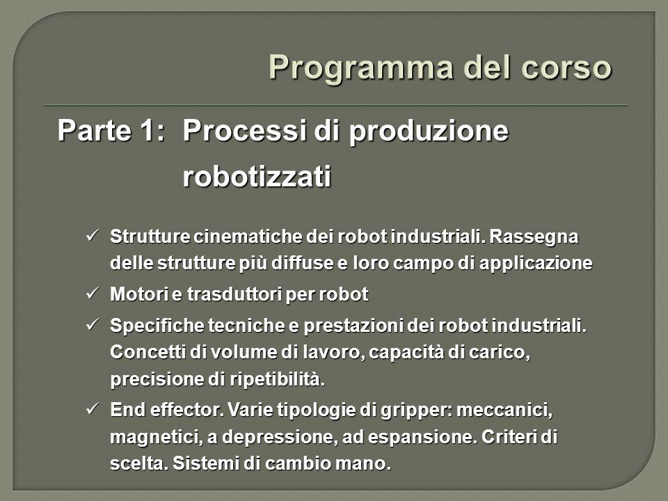 Parte 1: Processi di produzione robotizzati Sensori per la robotica industriale: sensori tattili, di forza, di prossimità, di distanza, sistemi di visione artificiale.