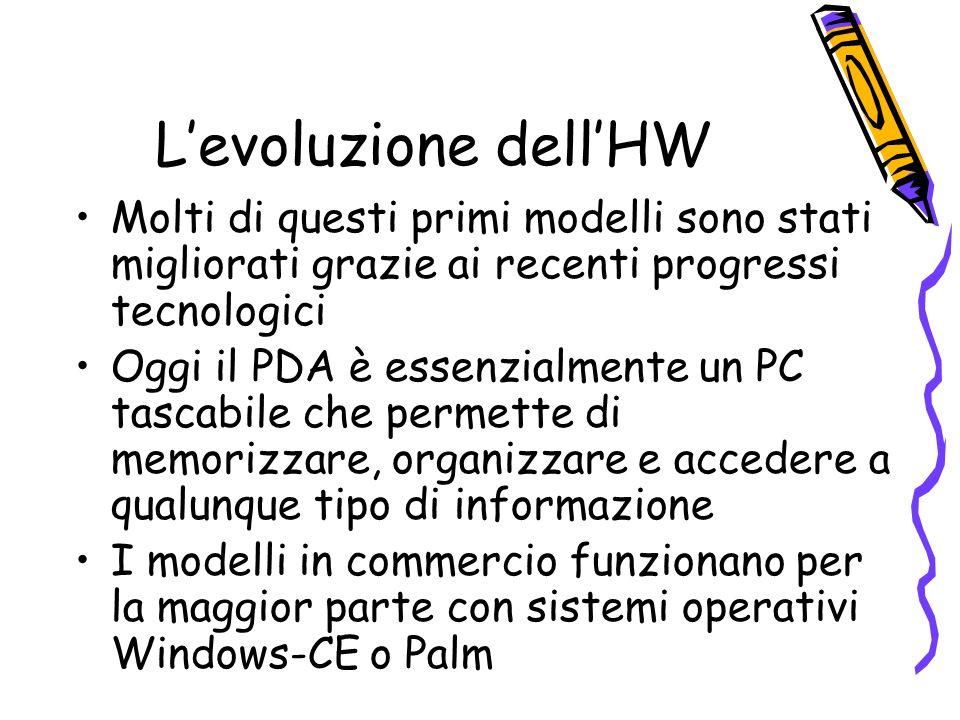 Levoluzione dellHW Molti di questi primi modelli sono stati migliorati grazie ai recenti progressi tecnologici Oggi il PDA è essenzialmente un PC tascabile che permette di memorizzare, organizzare e accedere a qualunque tipo di informazione I modelli in commercio funzionano per la maggior parte con sistemi operativi Windows-CE o Palm