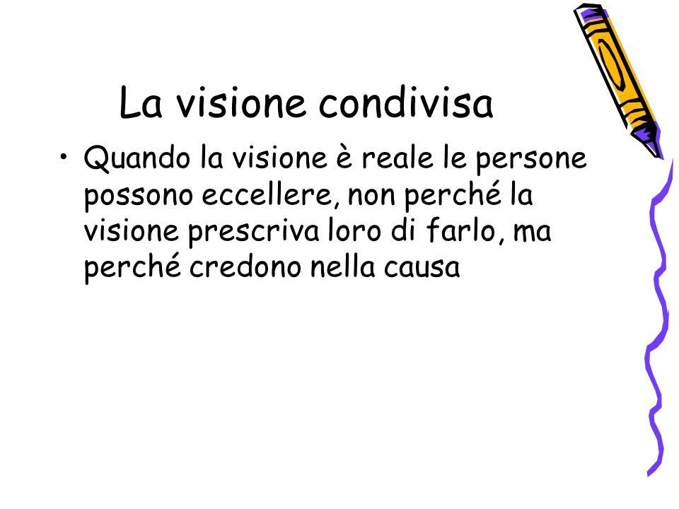 La visione condivisa Quando la visione è reale le persone possono eccellere, non perché la visione prescriva loro di farlo, ma perché credono nella causa