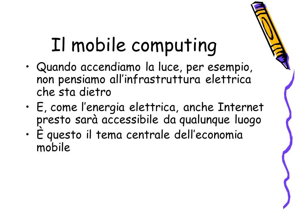 Il mobile computing Quando accendiamo la luce, per esempio, non pensiamo allinfrastruttura elettrica che sta dietro E, come lenergia elettrica, anche Internet presto sarà accessibile da qualunque luogo È questo il tema centrale delleconomia mobile