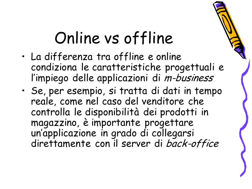 Online vs offline La differenza tra offline e online condiziona le caratteristiche progettuali e limpiego delle applicazioni di m-business Se, per esempio, si tratta di dati in tempo reale, come nel caso del venditore che controlla le disponibilità dei prodotti in magazzino, è importante progettare unapplicazione in grado di collegarsi direttamente con il server di back-office