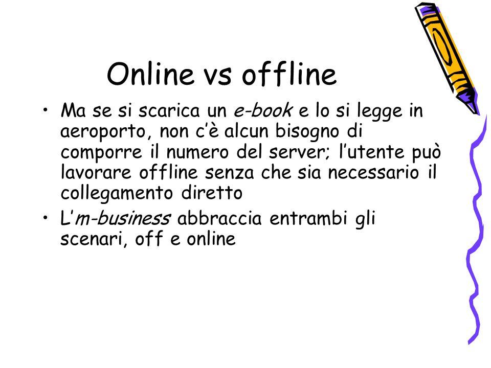Online vs offline Ma se si scarica un e-book e lo si legge in aeroporto, non cè alcun bisogno di comporre il numero del server; lutente può lavorare offline senza che sia necessario il collegamento diretto Lm-business abbraccia entrambi gli scenari, off e online