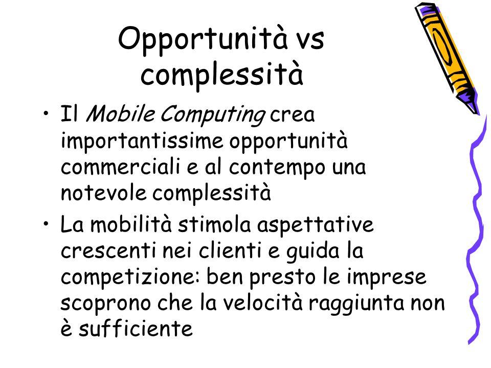Opportunità vs complessità Il Mobile Computing crea importantissime opportunità commerciali e al contempo una notevole complessità La mobilità stimola aspettative crescenti nei clienti e guida la competizione: ben presto le imprese scoprono che la velocità raggiunta non è sufficiente