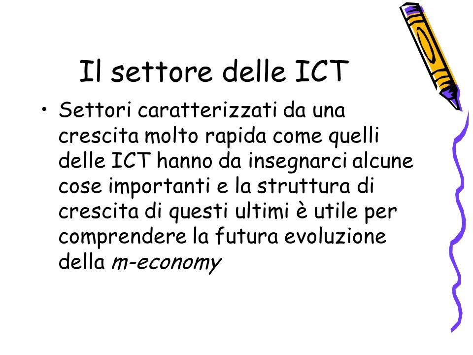 Il settore delle ICT Settori caratterizzati da una crescita molto rapida come quelli delle ICT hanno da insegnarci alcune cose importanti e la struttura di crescita di questi ultimi è utile per comprendere la futura evoluzione della m-economy