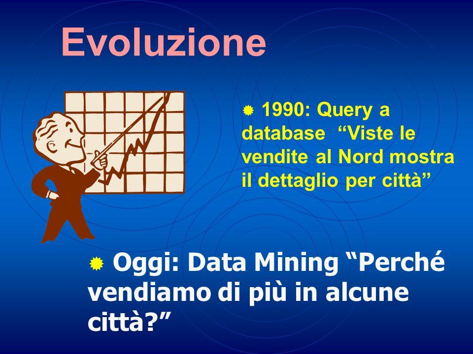 Evoluzione 1990: Query a database Viste le vendite al Nord mostra il dettaglio per città Oggi: Data Mining Perché vendiamo di più in alcune città?