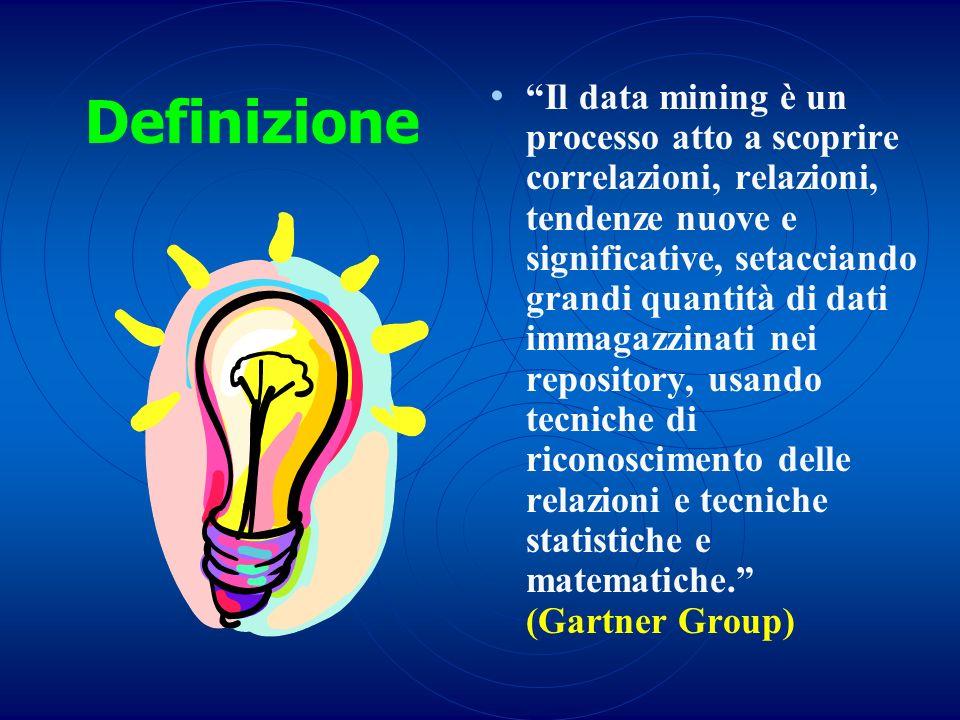 Definizione Il data mining è un processo atto a scoprire correlazioni, relazioni, tendenze nuove e significative, setacciando grandi quantità di dati
