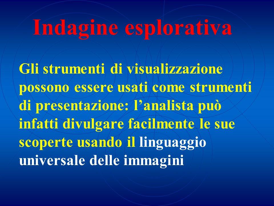 Indagine esplorativa Gli strumenti di visualizzazione possono essere usati come strumenti di presentazione: lanalista può infatti divulgare facilmente