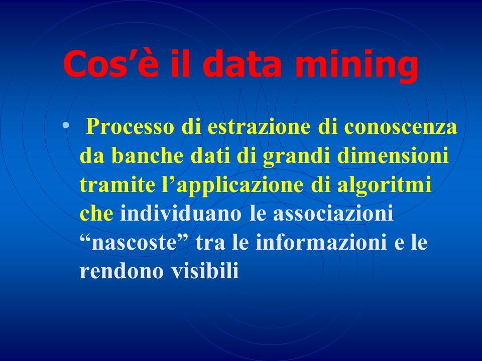 Cosè il data mining Processo di estrazione di conoscenza da banche dati di grandi dimensioni tramite lapplicazione di algoritmi che individuano le ass
