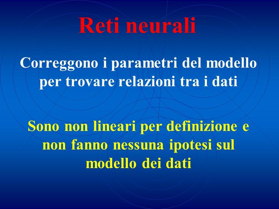 Reti neurali Correggono i parametri del modello per trovare relazioni tra i dati Sono non lineari per definizione e non fanno nessuna ipotesi sul mode