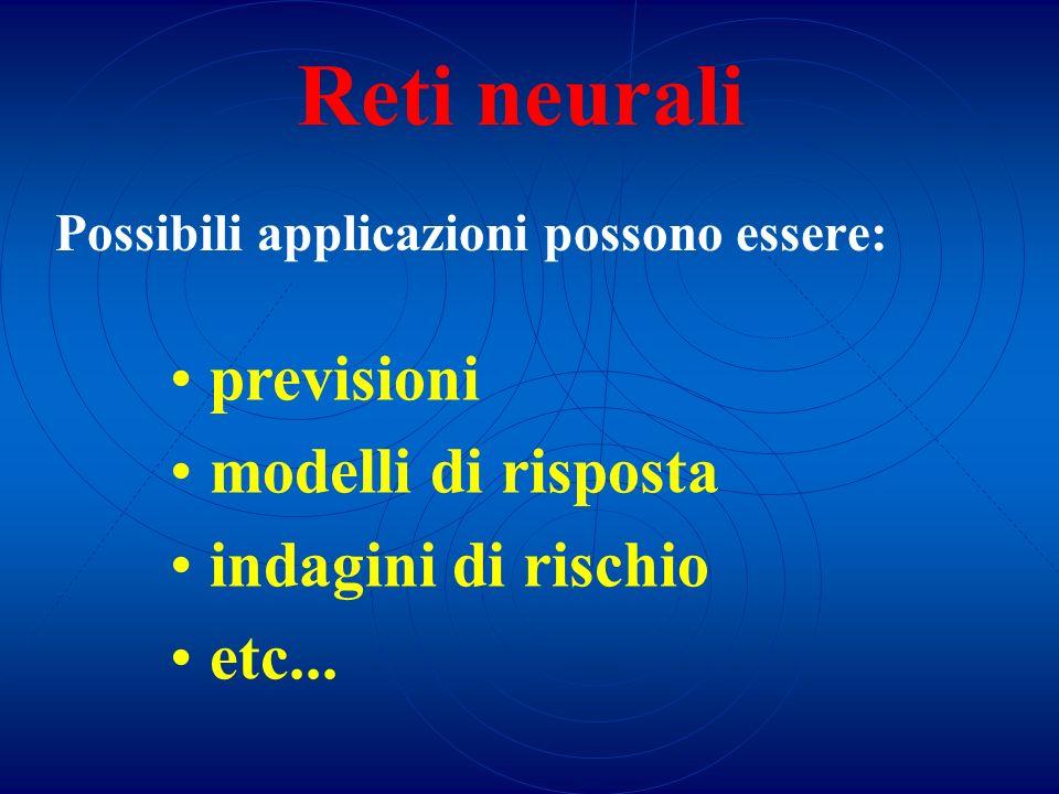 Reti neurali Possibili applicazioni possono essere: previsioni modelli di risposta indagini di rischio etc...