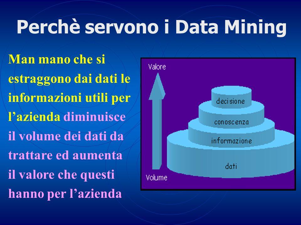 Perchè servono i Data Mining Man mano che si estraggono dai dati le informazioni utili per lazienda diminuisce il volume dei dati da trattare ed aumen