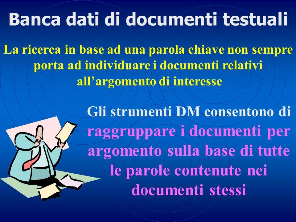 La ricerca in base ad una parola chiave non sempre porta ad individuare i documenti relativi allargomento di interesse Banca dati di documenti testual