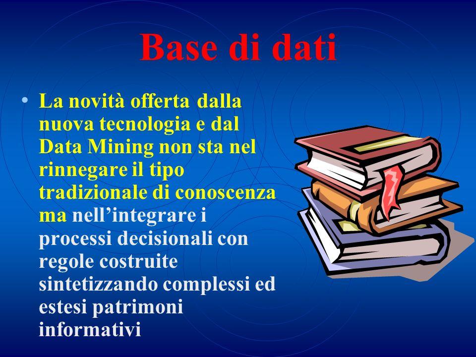 Base di dati La novità offerta dalla nuova tecnologia e dal Data Mining non sta nel rinnegare il tipo tradizionale di conoscenza ma nellintegrare i pr