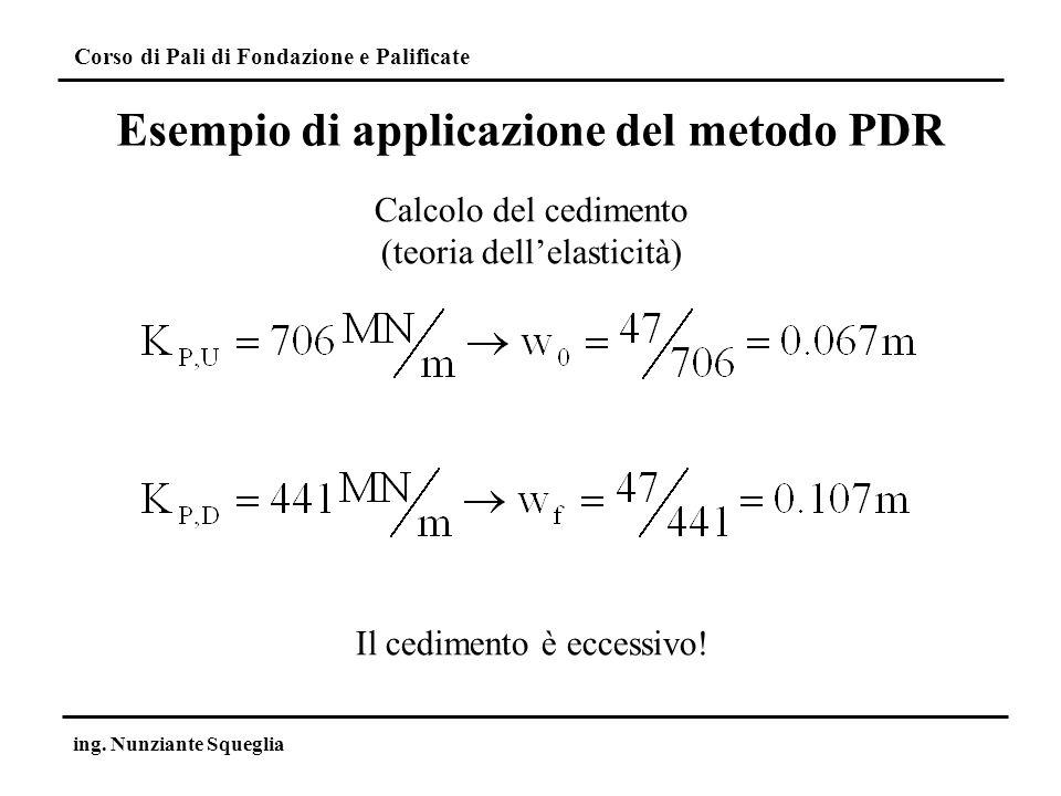 Corso di Pali di Fondazione e Palificate ing. Nunziante Squeglia Esempio di applicazione del metodo PDR Calcolo del cedimento (teoria dellelasticità)