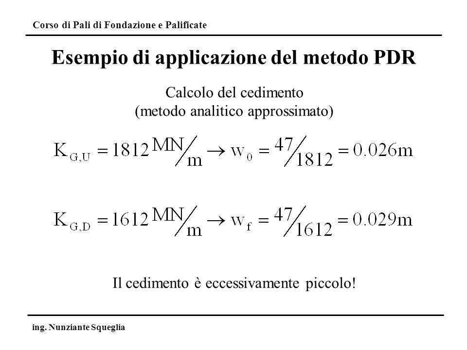 Corso di Pali di Fondazione e Palificate ing. Nunziante Squeglia Calcolo del cedimento (metodo analitico approssimato) Il cedimento è eccessivamente p