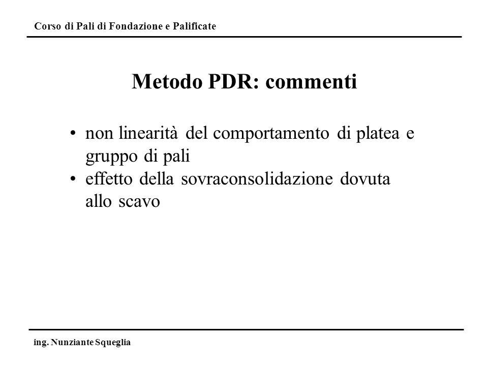 Corso di Pali di Fondazione e Palificate ing. Nunziante Squeglia Metodo PDR: commenti non linearità del comportamento di platea e gruppo di pali effet