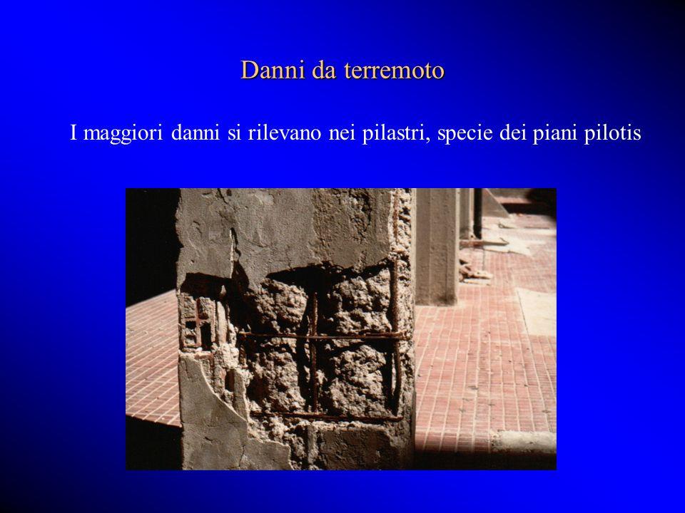 Danni da terremoto I maggiori danni si rilevano nei pilastri, specie dei piani pilotis