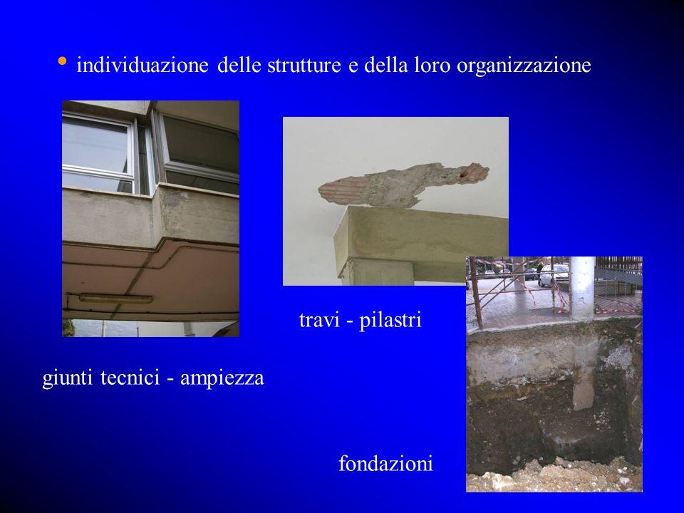individuazione delle strutture e della loro organizzazione giunti tecnici - ampiezza fondazioni travi - pilastri