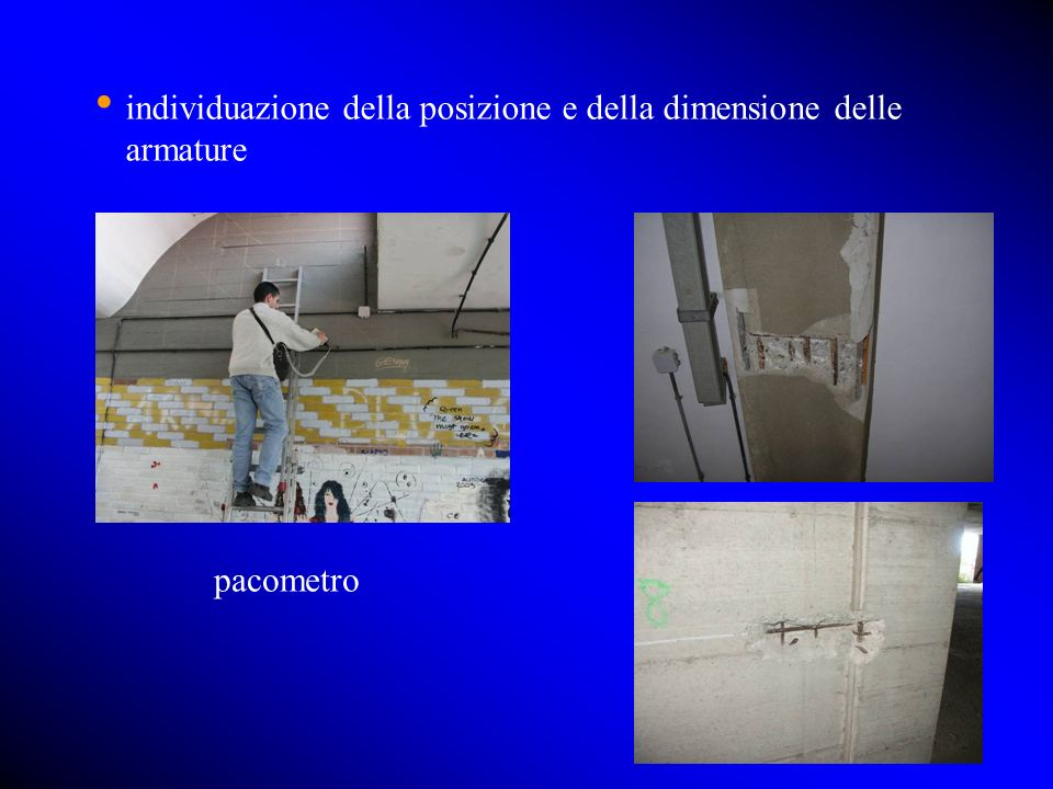 individuazione della posizione e della dimensione delle armature pacometro