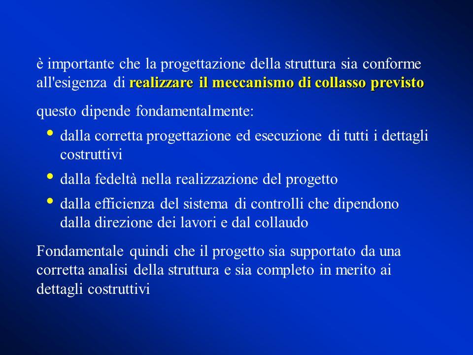 realizzare il meccanismo di collasso previsto è importante che la progettazione della struttura sia conforme all'esigenza di realizzare il meccanismo