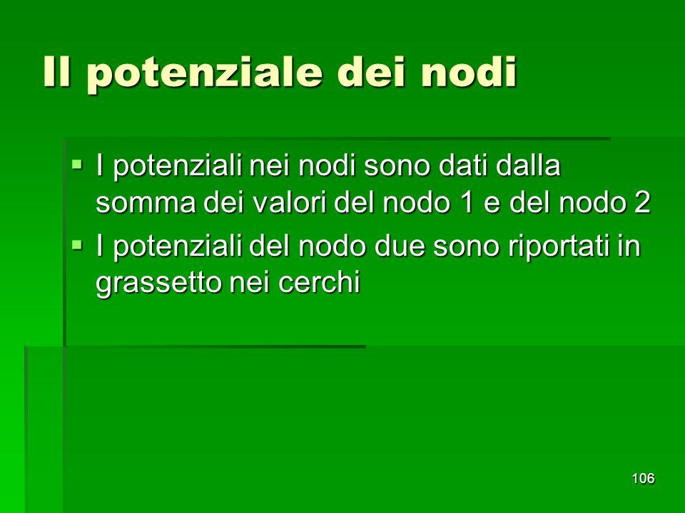 106 Il potenziale dei nodi I potenziali nei nodi sono dati dalla somma dei valori del nodo 1 e del nodo 2 I potenziali nei nodi sono dati dalla somma
