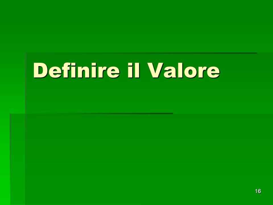 16 Definire il Valore