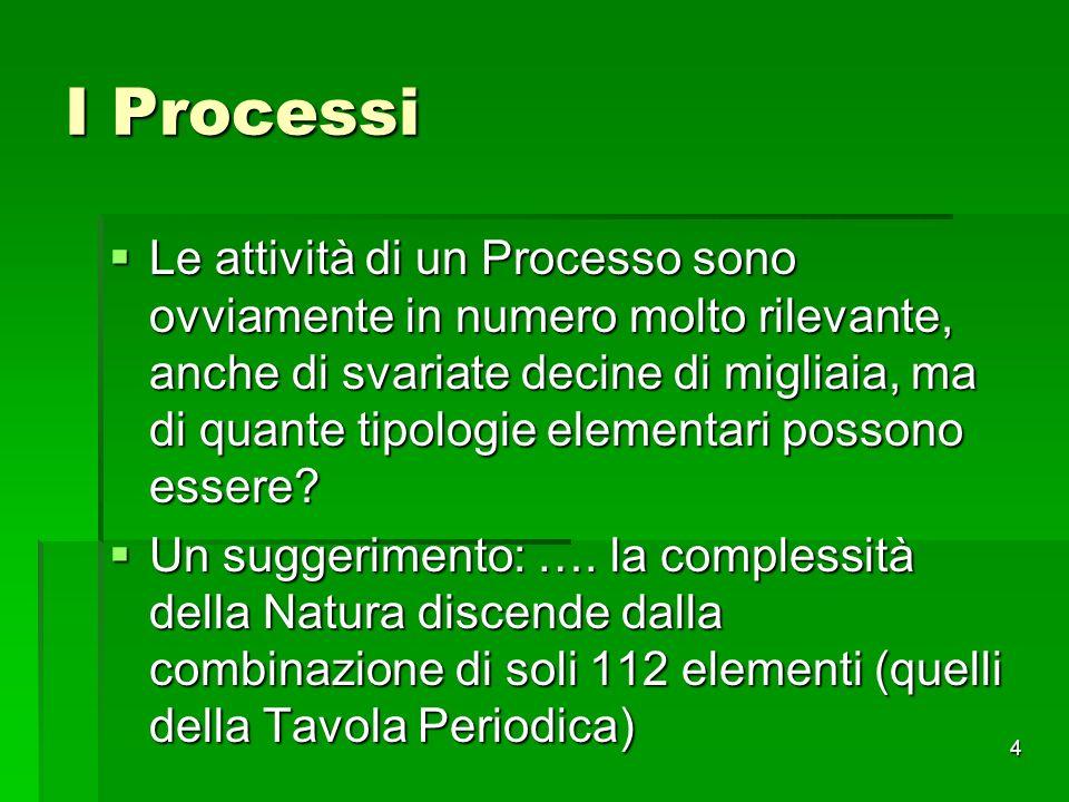 4 I Processi Le attività di un Processo sono ovviamente in numero molto rilevante, anche di svariate decine di migliaia, ma di quante tipologie elemen