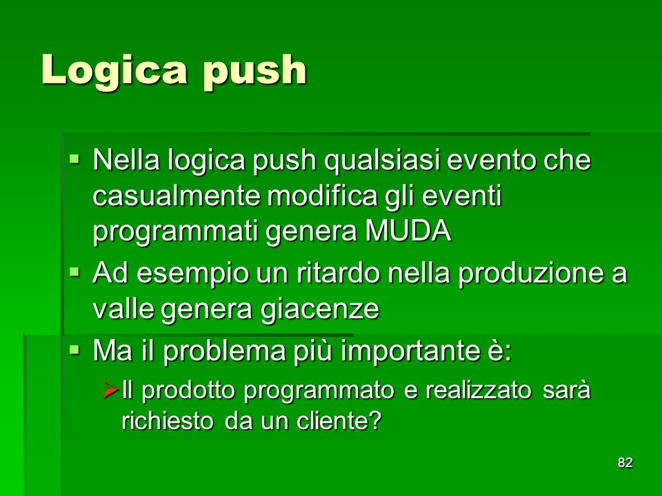82 Logica push Nella logica push qualsiasi evento che casualmente modifica gli eventi programmati genera MUDA Nella logica push qualsiasi evento che c