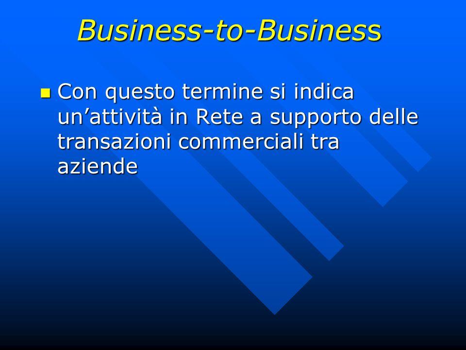 Con questo termine si indica unattività in Rete a supporto delle transazioni commerciali tra aziende Con questo termine si indica unattività in Rete a