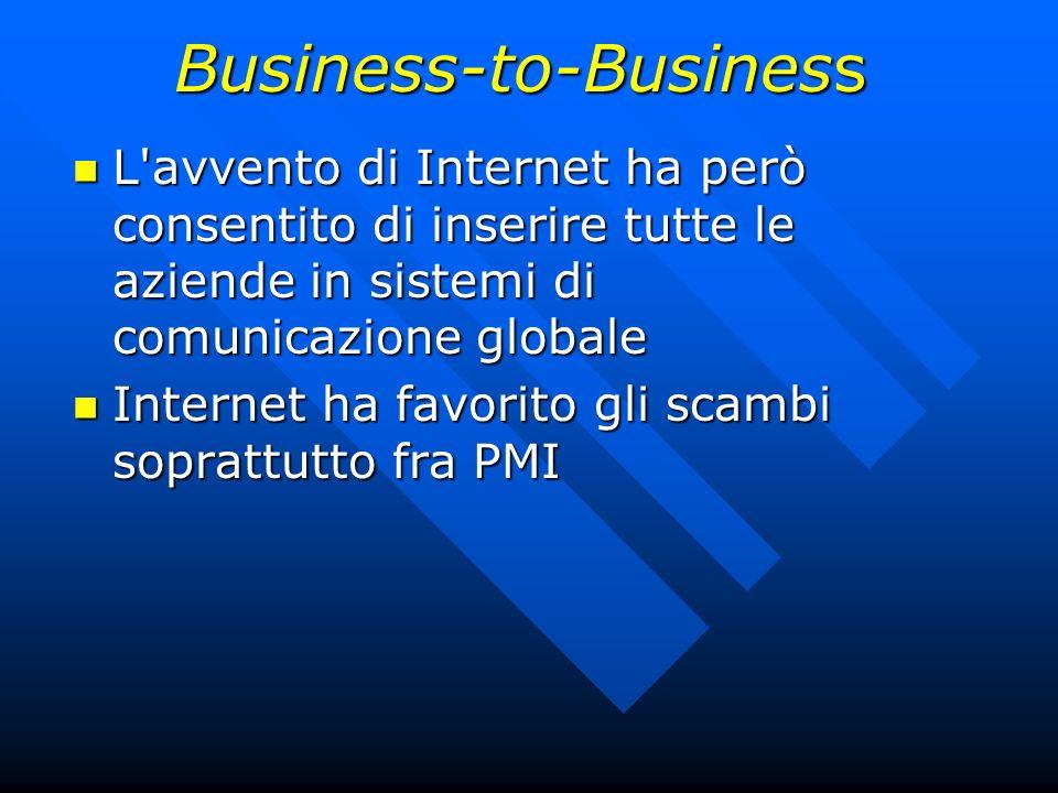 Business-to-Business L'avvento di Internet ha però consentito di inserire tutte le aziende in sistemi di comunicazione globale L'avvento di Internet h