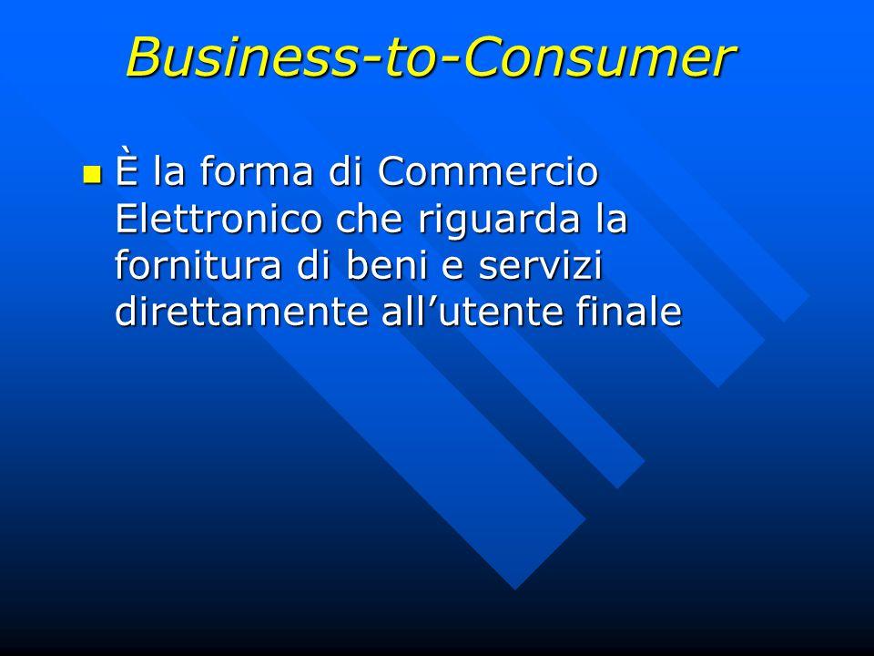 È la forma di Commercio Elettronico che riguarda la fornitura di beni e servizi direttamente allutente finale È la forma di Commercio Elettronico che