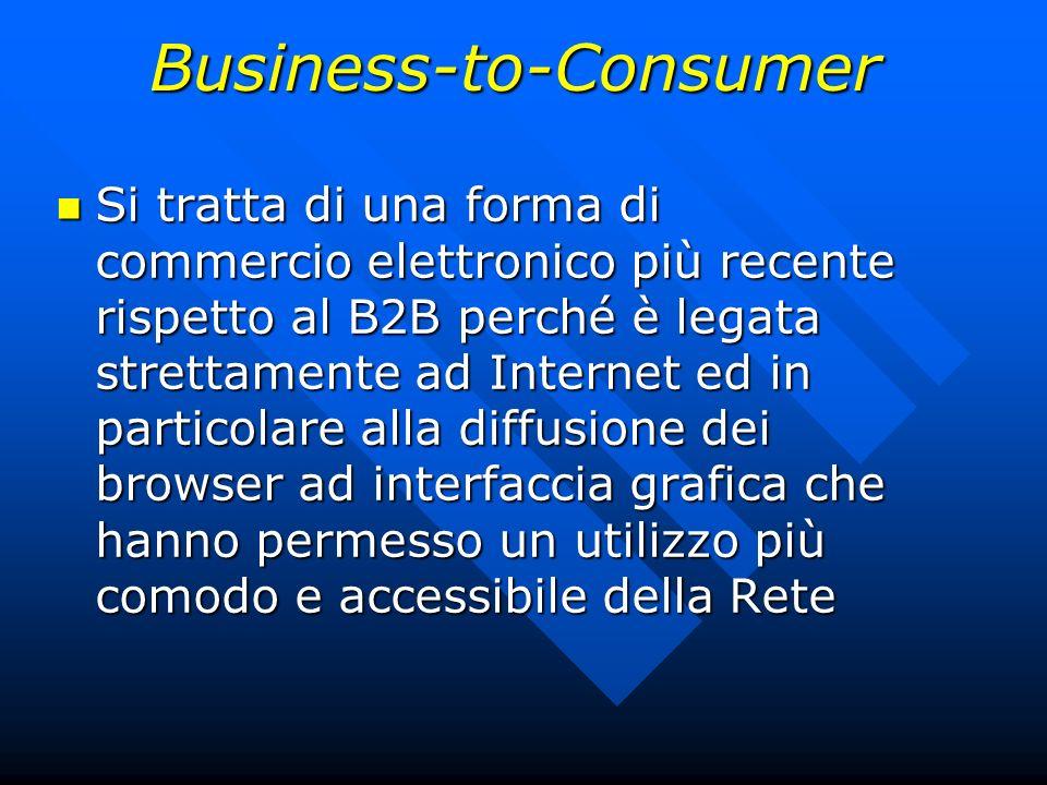 Business-to-Consumer Si tratta di una forma di commercio elettronico più recente rispetto al B2B perché è legata strettamente ad Internet ed in partic