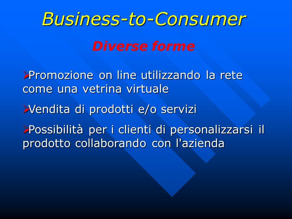 Business-to-Consumer Diverse forme Promozione on line utilizzando la rete come una vetrina virtuale Promozione on line utilizzando la rete come una ve
