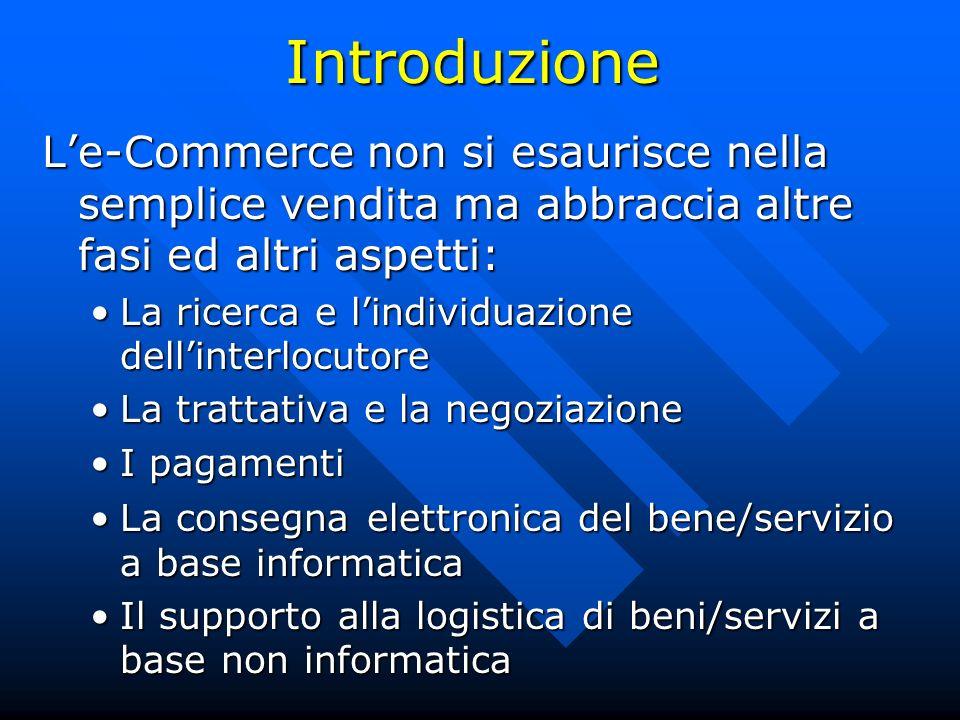 Introduzione Le-Commerce non si esaurisce nella semplice vendita ma abbraccia altre fasi ed altri aspetti: Le-Commerce non si esaurisce nella semplice