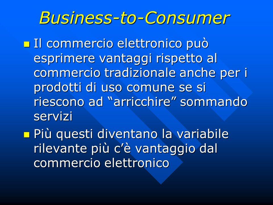 Business-to-Consumer Il commercio elettronico può esprimere vantaggi rispetto al commercio tradizionale anche per i prodotti di uso comune se si riesc