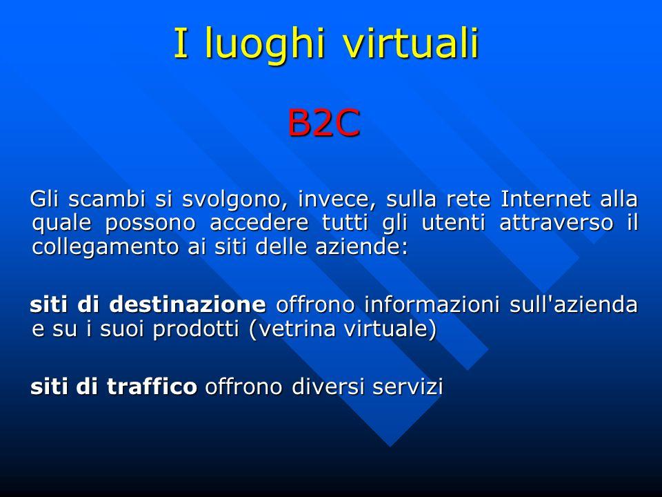 I luoghi virtuali B2C Gli scambi si svolgono, invece, sulla rete Internet alla quale possono accedere tutti gli utenti attraverso il collegamento ai s