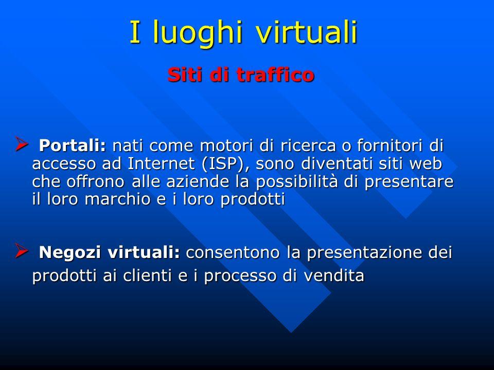 I luoghi virtuali Siti di traffico Portali: nati come motori di ricerca o fornitori di accesso ad Internet (ISP), sono diventati siti web che offrono