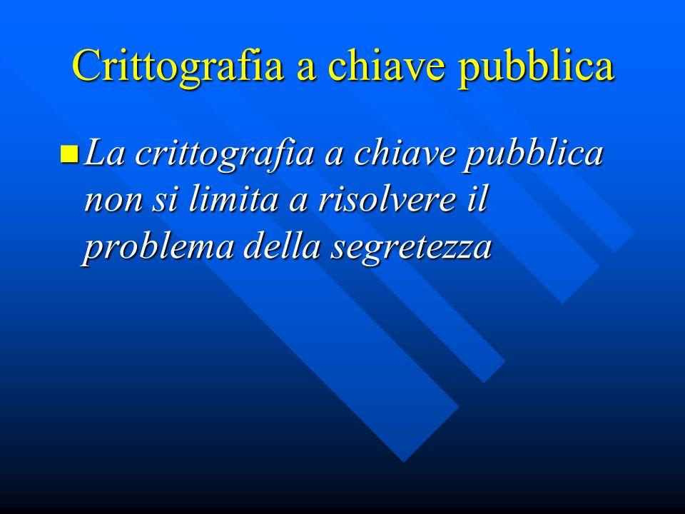 Crittografia a chiave pubblica La crittografia a chiave pubblica non si limita a risolvere il problema della segretezza La crittografia a chiave pubbl