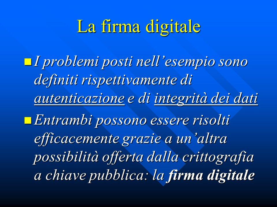 La firma digitale I problemi posti nellesempio sono definiti rispettivamente di autenticazione e di integrità dei dati I problemi posti nellesempio so