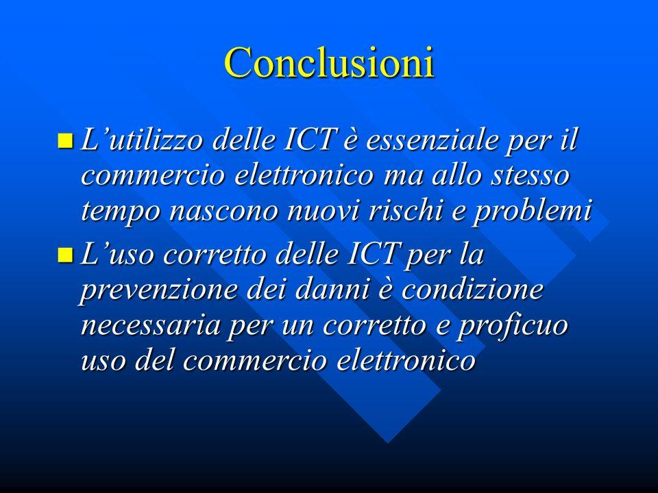 Conclusioni Lutilizzo delle ICT è essenziale per il commercio elettronico ma allo stesso tempo nascono nuovi rischi e problemi Lutilizzo delle ICT è e
