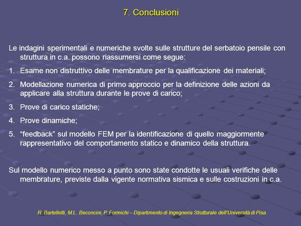 7. Conclusioni R. Bartelletti, M.L. Beconcini, P. Formichi – Dipartimento di Ingegneria Strutturale dellUniversità di Pisa Le indagini sperimentali e