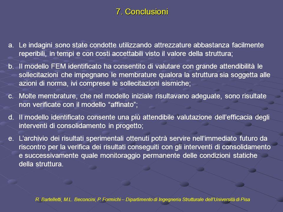 7. Conclusioni R. Bartelletti, M.L. Beconcini, P. Formichi – Dipartimento di Ingegneria Strutturale dellUniversità di Pisa a.Le indagini sono state co
