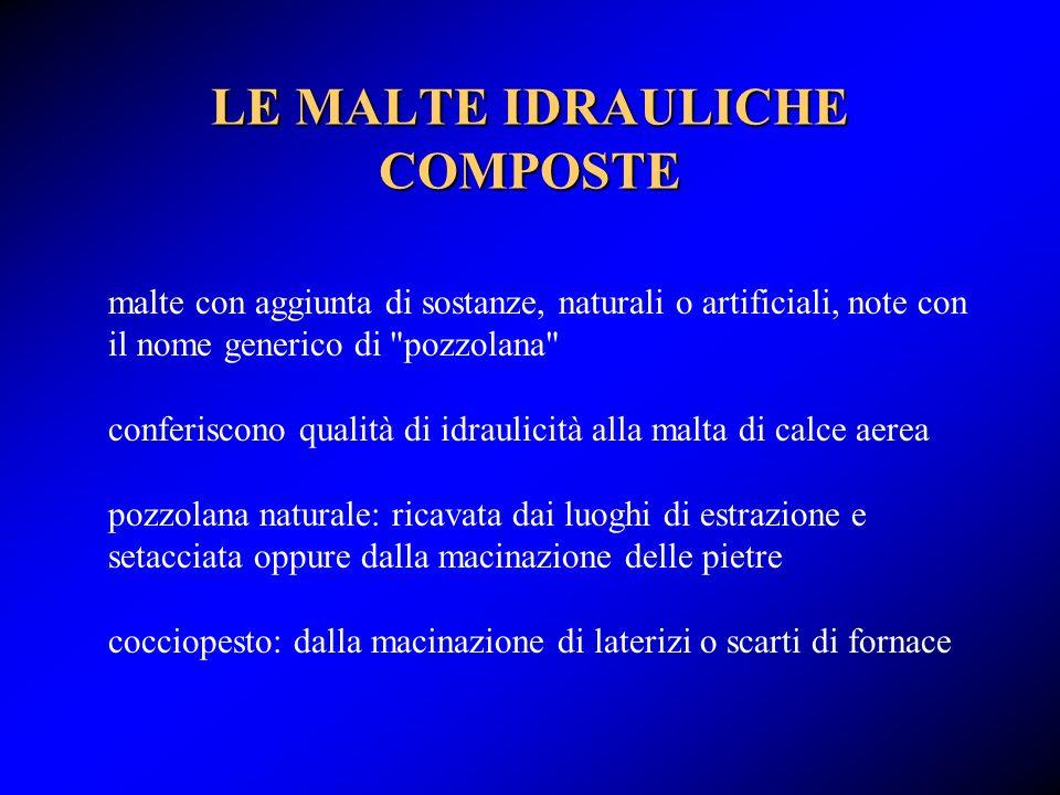 LE MALTE IDRAULICHE COMPOSTE malte con aggiunta di sostanze, naturali o artificiali, note con il nome generico di