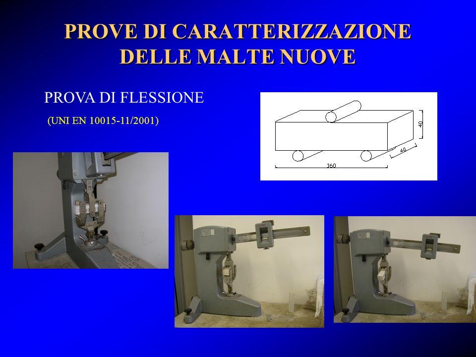 PROVE DI CARATTERIZZAZIONE DELLE MALTE NUOVE PROVA DI FLESSIONE (UNI EN 10015-11/2001)