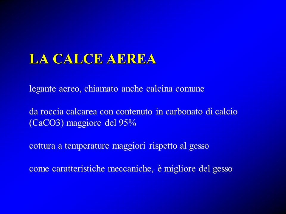 LA CALCE AEREA legante aereo, chiamato anche calcina comune da roccia calcarea con contenuto in carbonato di calcio (CaCO3) maggiore del 95% cottura a