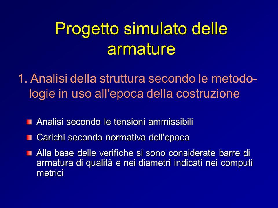 Progetto simulato delle armature Analisi secondo le tensioni ammissibili Carichi secondo normativa dellepoca Alla base delle verifiche si sono conside