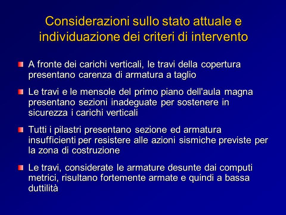 Considerazioni sullo stato attuale e individuazione dei criteri di intervento A fronte dei carichi verticali, le travi della copertura presentano care