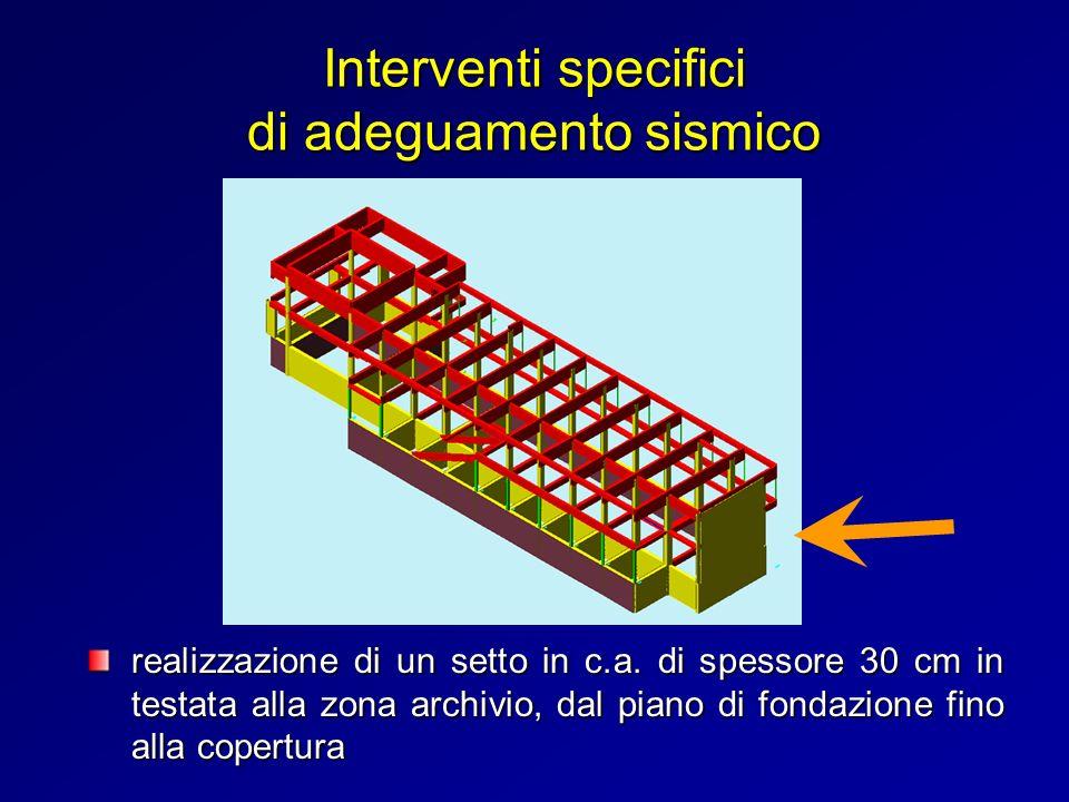 Interventi specifici di adeguamento sismico realizzazione di un setto in c.a. di spessore 30 cm in testata alla zona archivio, dal piano di fondazione